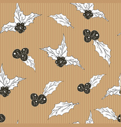holly leaves and berries hand drawn sketch retro vector image