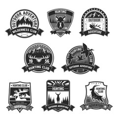 hunting club adventure icons or badges set vector image