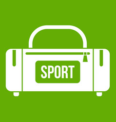 Large sports bag icon green vector