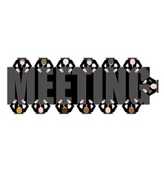 Meeting a long table people work in office boss vector
