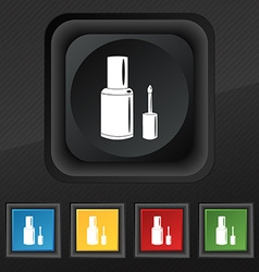 Nail polish bottle icon symbol set of five vector