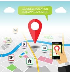 Navigation map mobile application banner vector image vector image