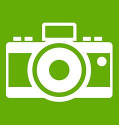 Photocamera icon green vector