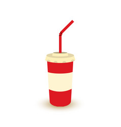 plastic cup of soda with straw vector image vector image
