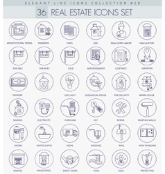 Real Estates outline icon set Elegant thin vector image vector image