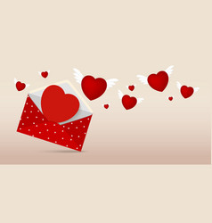 Red envelope with paper heart for valentines day vector image