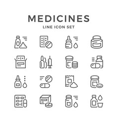 set line icons of medicines vector image vector image