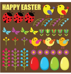 Set of easter eggsanimals and flowers vector image vector image