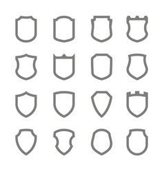 Set of monochrome icons with shield vector