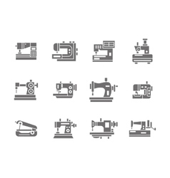 Sewing technology glyph style icons set vector image