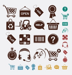 shopping set of icons vector image vector image