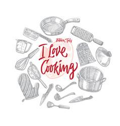 Sketch kitchen utensils round concept vector