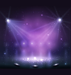 spotlight on stage with smoke and light vector image vector image