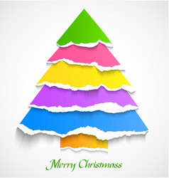 Torn paper colorful christmas tree vector image vector image