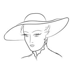 Vintage Woman Sketch vector image
