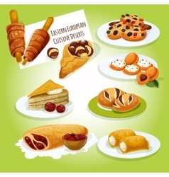 Eastern european cuisine desserts icon vector