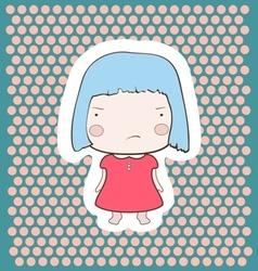 Cute gloomy candy blue hair cartoon baby girl vector