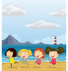 Four girls dancing at the beach vector image