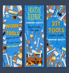 Repair and construction tool cartoon banner set vector