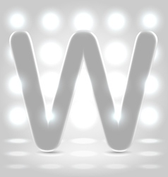 W over lighted background vector