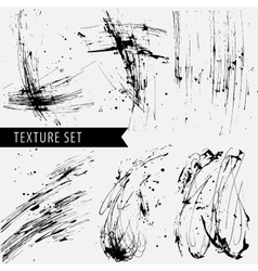 Drawn black sharply ink texture set vector