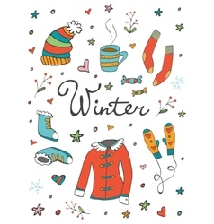 Collection of hand drawn winter related graphic vector