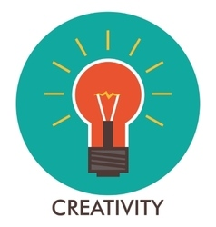 Creativity light bulb line icon with flat design vector