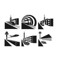 Transportation stations icons set vector