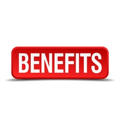 Benefits red three-dimensional square button vector