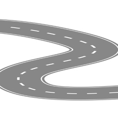 Curving winding road or highway with center vector