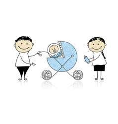 Parents walking with newborn baby in buggy vector