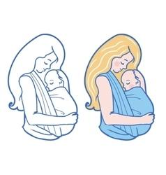 Babywearing with mother vector