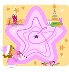 Christmas maze game for kids vector image