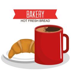 Coffee and bread delicious breakfast vector