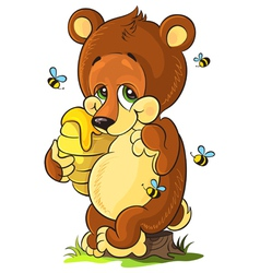 Cute bear cub with honey vector image vector image
