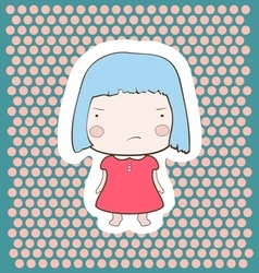 Cute gloomy candy blue hair cartoon baby girl vector