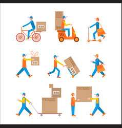delivery man set color vector image