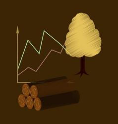 flat shading style icon wood infographics vector image