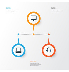 gadget icons set collection of desktop monitor vector image vector image