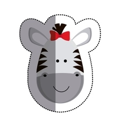 Grayscale sticker with female zebra head and vector