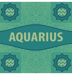 Hand-drawn zodiac aquarius with ethnic floral vector
