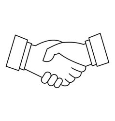 Handshake icon outline style vector image