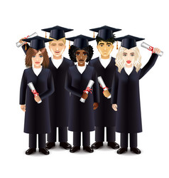 Happy students with diplomas vector