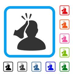 Kickboxer framed icon vector