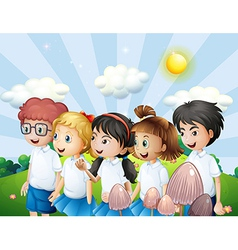 Kids in their school uniform walking at the hill vector image vector image