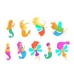 Mermaids and fairies fairy-tale fantastic vector