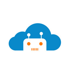 modern robotic cloud technology logo graphic vector image