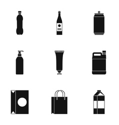 Package icons set simple style vector