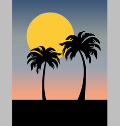 Palm trees silhouette with sunset vector