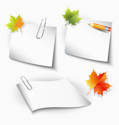 paper clips and sheets pencil and autumn leaves vector image vector image